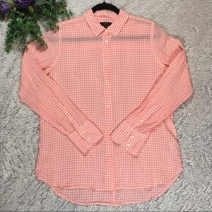 J Crew Pink Gingham Crinkle Button Up Shirt